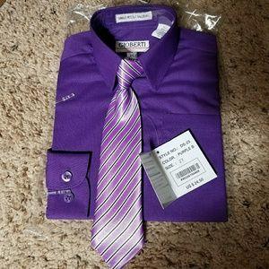 Toddler boys 2T purple long sleeve dress shirt